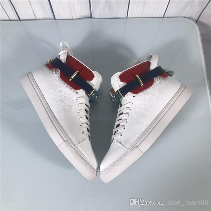 Toz torbası ve kutusu ile kilit ile beyaz son klasik erkek ayakkabı Yüksek top sneakers Moda tasarımcısı Gerçek Deri,