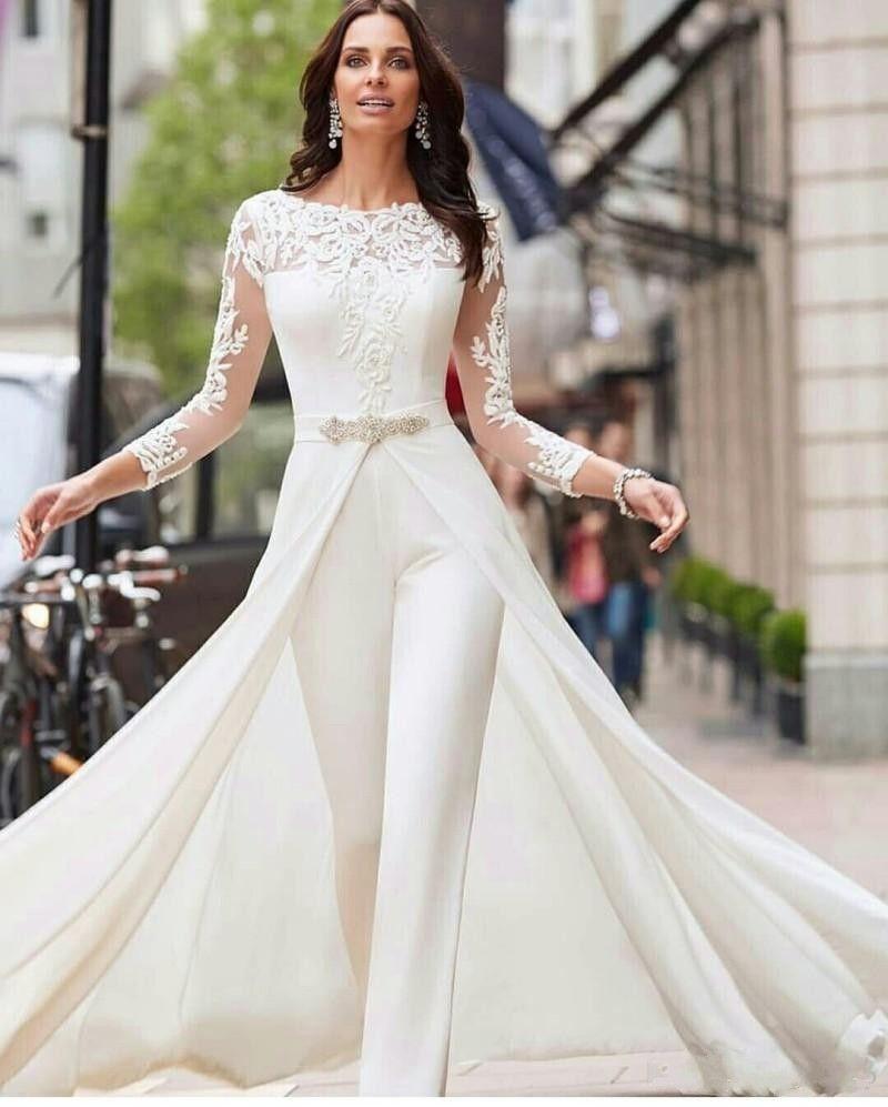 Hot Sale A Line Jumpsuit Wedding Dresses Bateau Neck Long Sleeves Lace Bridal Gowns Sweep Train Beaded Vestidos De Novia