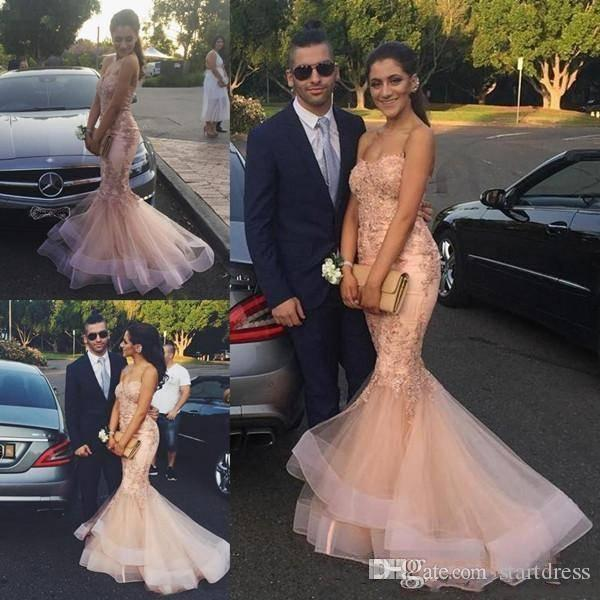 Fashion Champagne Lace Tull Mermaid prom dresses Long Floor Length Sweetheart Formal Evening Gowns With Applique Discount Arabic Women Dress