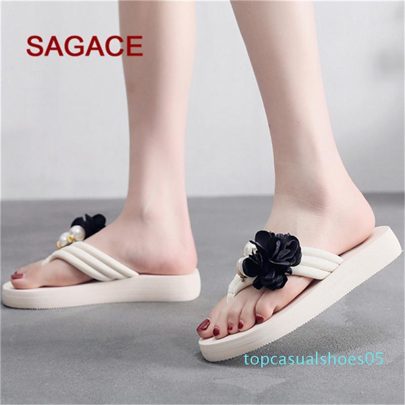 SAGACE Mode Chaussons Femmes Stretch été Tissu Chaussons Mer Perle Non-Slip plat Chaussures de plage Sandalia Feminina T05
