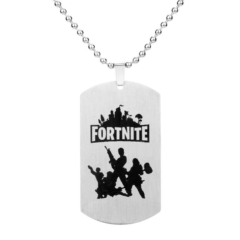 Fortress Night Dog Tag Necklace Stainless Steel Tag Military Game Pendant Necklaces Punk Statement Collar For Men Women Gift Jewelry new