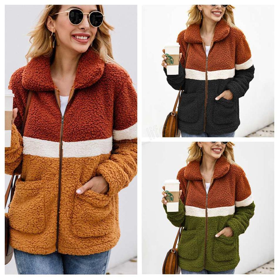 Женское пэчворк с длинным рукавом на молнии шерпа толстовка флисовая куртка и пиджаки с карманами топы плюшевая толстовка LJJA2861