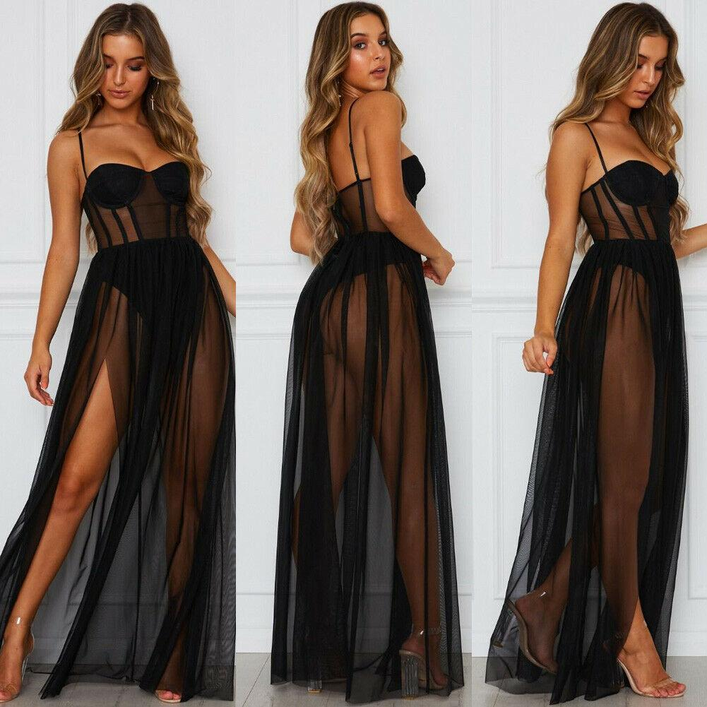 Brand New 2019 Women 's Sexy Mesh 쉬어 슬링 Bikini Cover Up 캐주얼 긴 Dress Summer Beach Sundress Black / White
