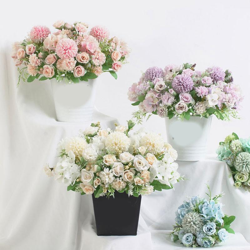 7 Heads Hydrangea Flowers Artificial Bouquet Silk Blooming Fake Peony Bridal Hand Flower Roses Wedding Centerpieces Decor
