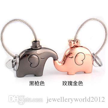 creative metal elephant pendant animal key chain Holiday gift couple fashion circle men and women key chain