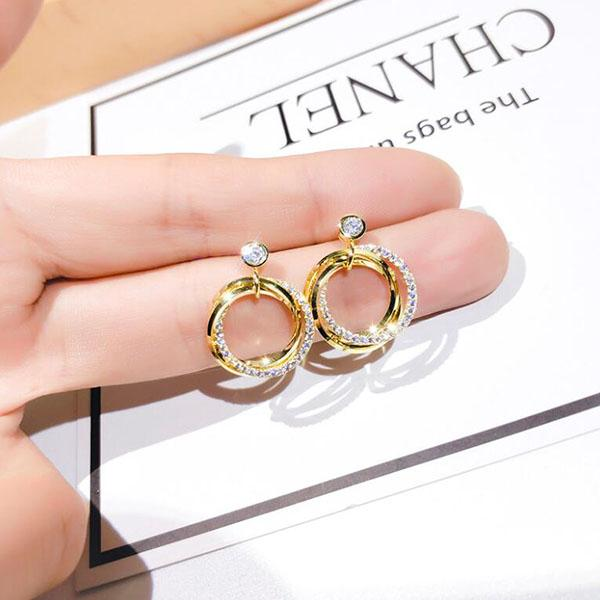 korea fashion round dangle earrings gold silver crystal ear studs women girl charm jewely accessories