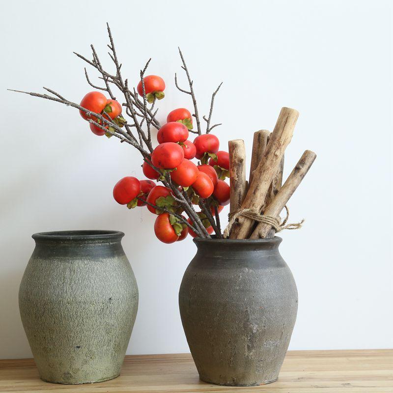 Falsificación flor de imitación Plantas de simulación de la fruta del caqui en seco la flor artificial de la decoración del hogar Rama de novia con Wall