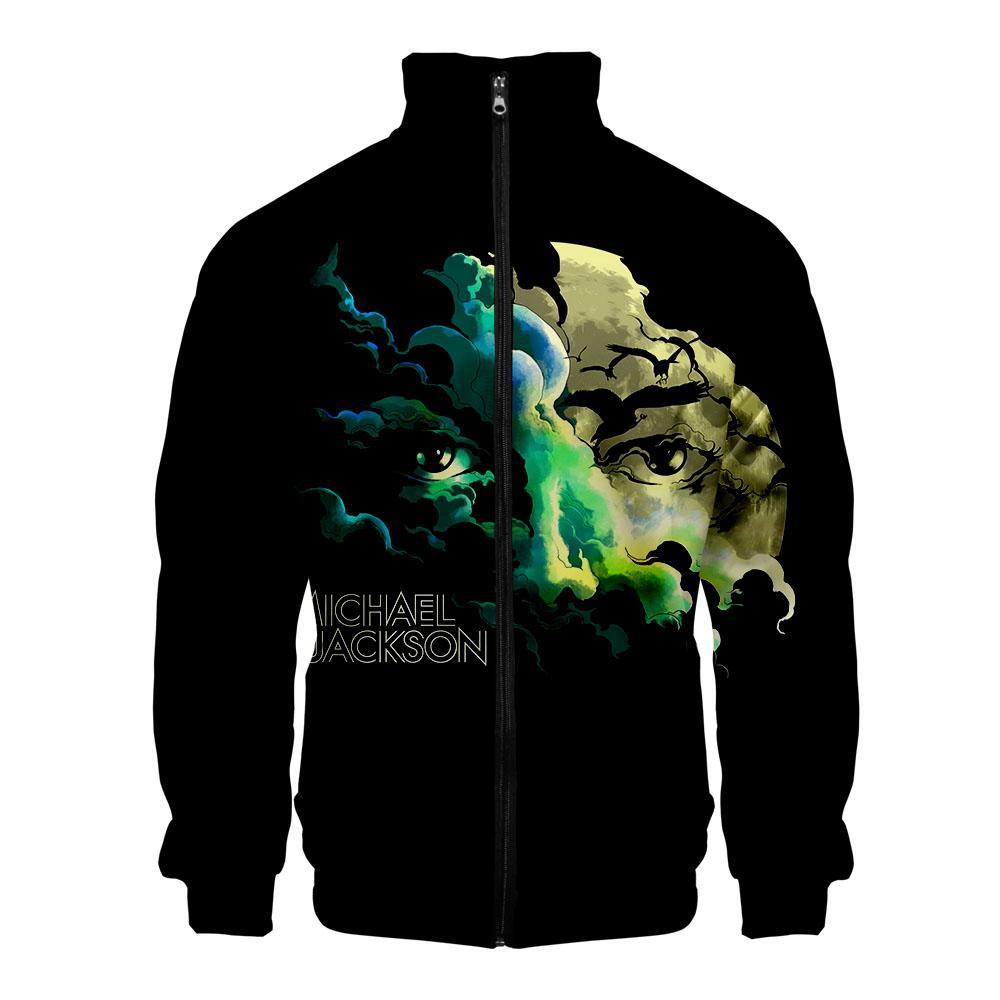 2019 new Michael Joseph Jackson 3D printed Cool stand collar jacket fashion casual zipper streetwear Sweatshirt New Casual Cloth