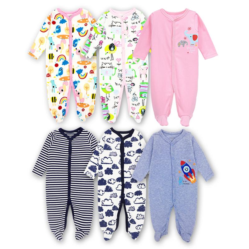 3 Pack Newborn Baby Girls Boys Babie Footie Long Sleeve 100٪ cotton Printing Infant Clothes 0-12 Months Q190520