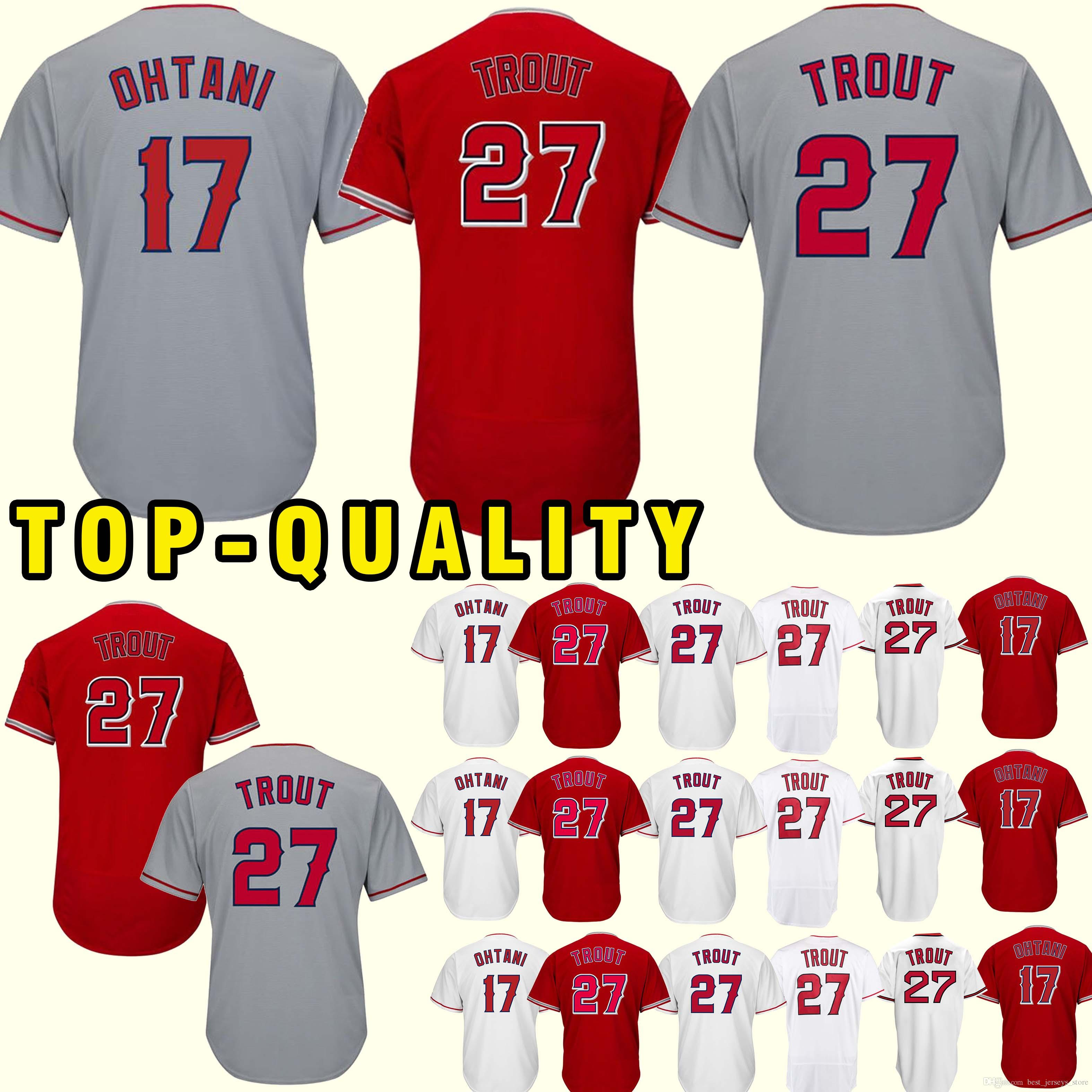 a9f352793e0 Los Angeles Ange 27 Mike Trout 17 Shohei Ohtani Jersey 2018 New 100%  Stitched superior quality Top MEN Jerseys