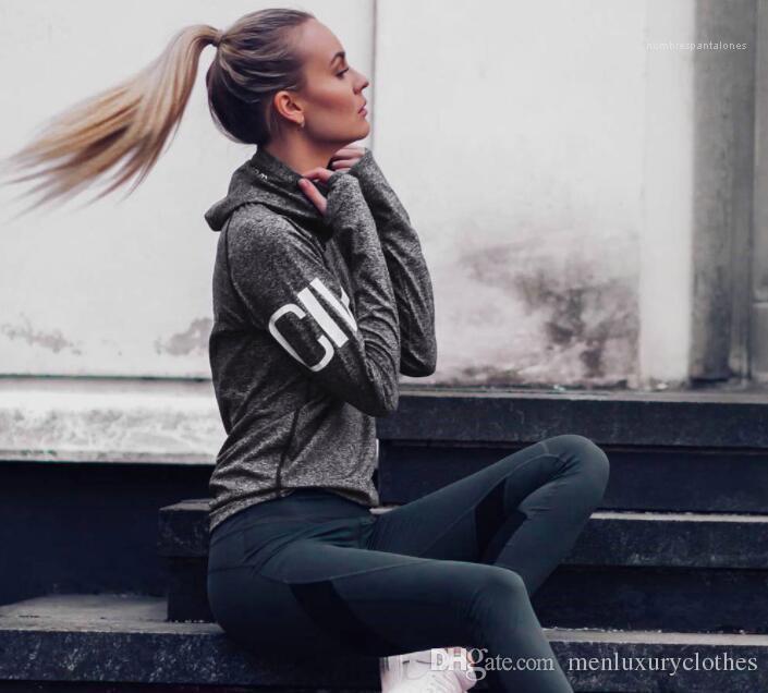 Harfler Tasarımcı Slim Fit İnce Tişörtü Bayan Moda Spor Atletik Gri Hoodies Tops