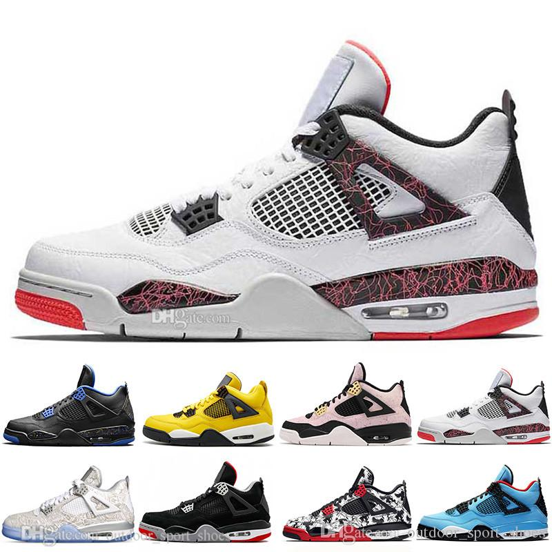 Top Quality New Bred 4 4s What The Cactus Jack Laser Wings Mens Basketball Shoes Denim Blue Eminem Pale Citron Men Sports Designer Sneakers
