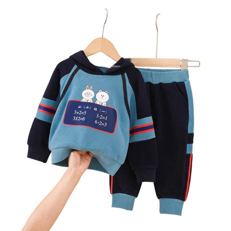 Rapazes fatos Cartoon Crianças Fatos de Treino casual rapazes Fatos de treino para Desporto crianças roupas para rapazes roupas para rapazes roupa longa manga capuz + calças 2 pcs / set varejo B583