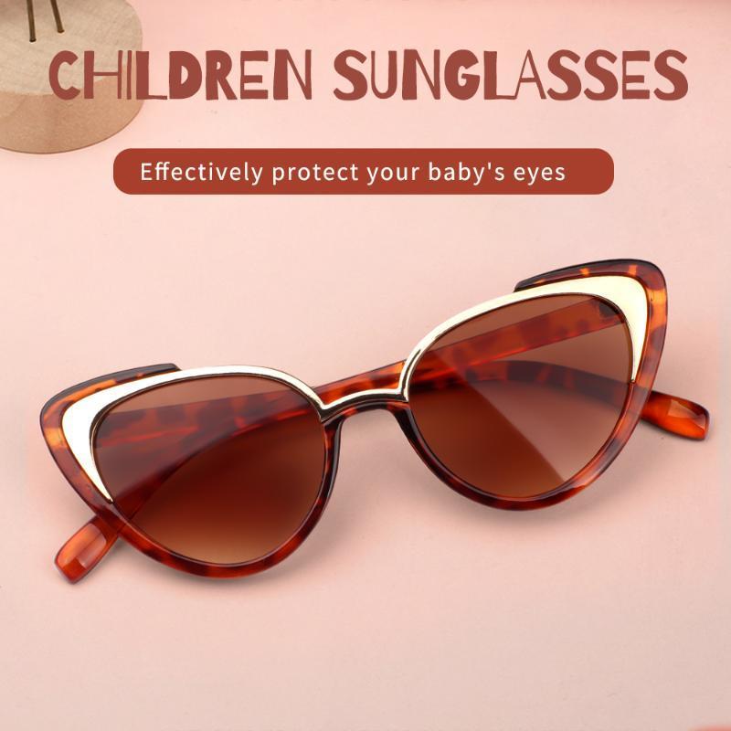 Gato de las muchachas de los ojos gafas de sol para los niños niños muchachas del diseño partido de la manera Niños Lamer La mitad de los niños gafas de sol UV Mostrar Classic Sombras