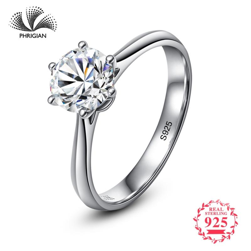 Not Fake Yes I Do Classic Simple 1 Carat Dream Proposal Ring S925 Sterling Silver Diamond 925 Women Solitaire Round Cut 6 Claws Y19051603
