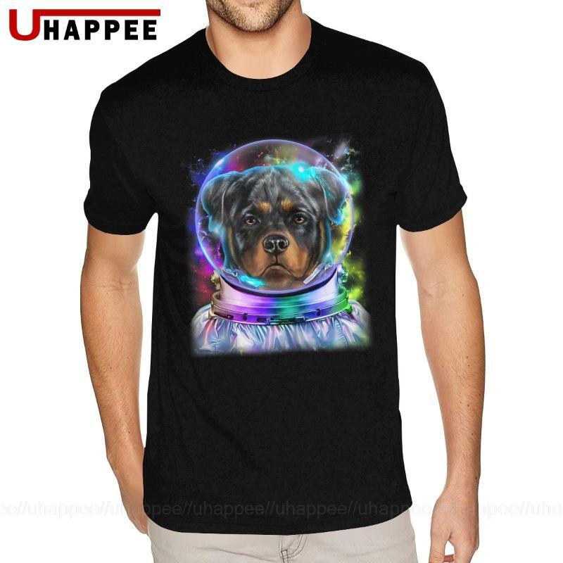 Netter Rottweiler Hund als Astronaut Exploring Raum und Galaxy-Geschenk-T-Shirts für Männer Cheap Custom kurzer Ärmel weißen Crew Tee