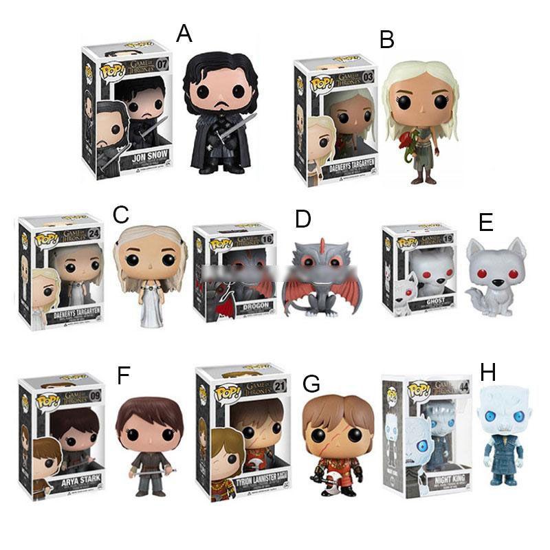 2020 Funko POP Juego de Tronos Figuras de acción de dibujos animados juguetes Daenerys Jon Nieve PVC Juguetes para niños para niños regalo 8 estilos envío libre C6742