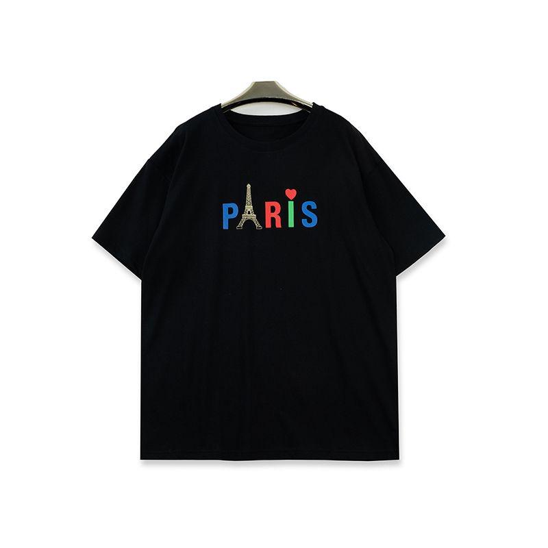 Мужские футболки Стилист Мужчины Женщины Париж печати Короткие рукава Мода Мужская футболка Черный Белый