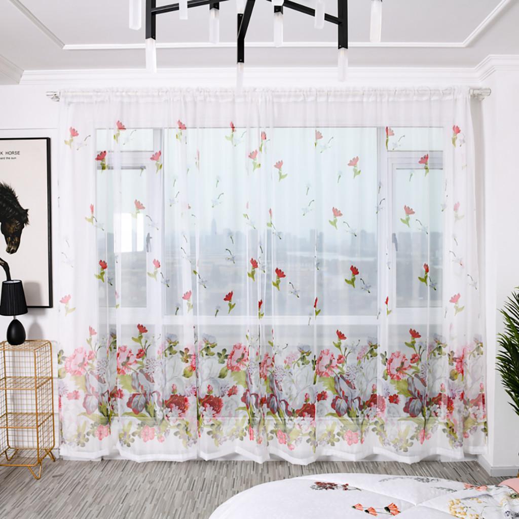 Bäume bloßen Vorhang Tüll Fenster Behandlung Voile Drape Valance Stoff Cortinas Para Sala Luxo Valance Vorhänge für Wohnzimmer