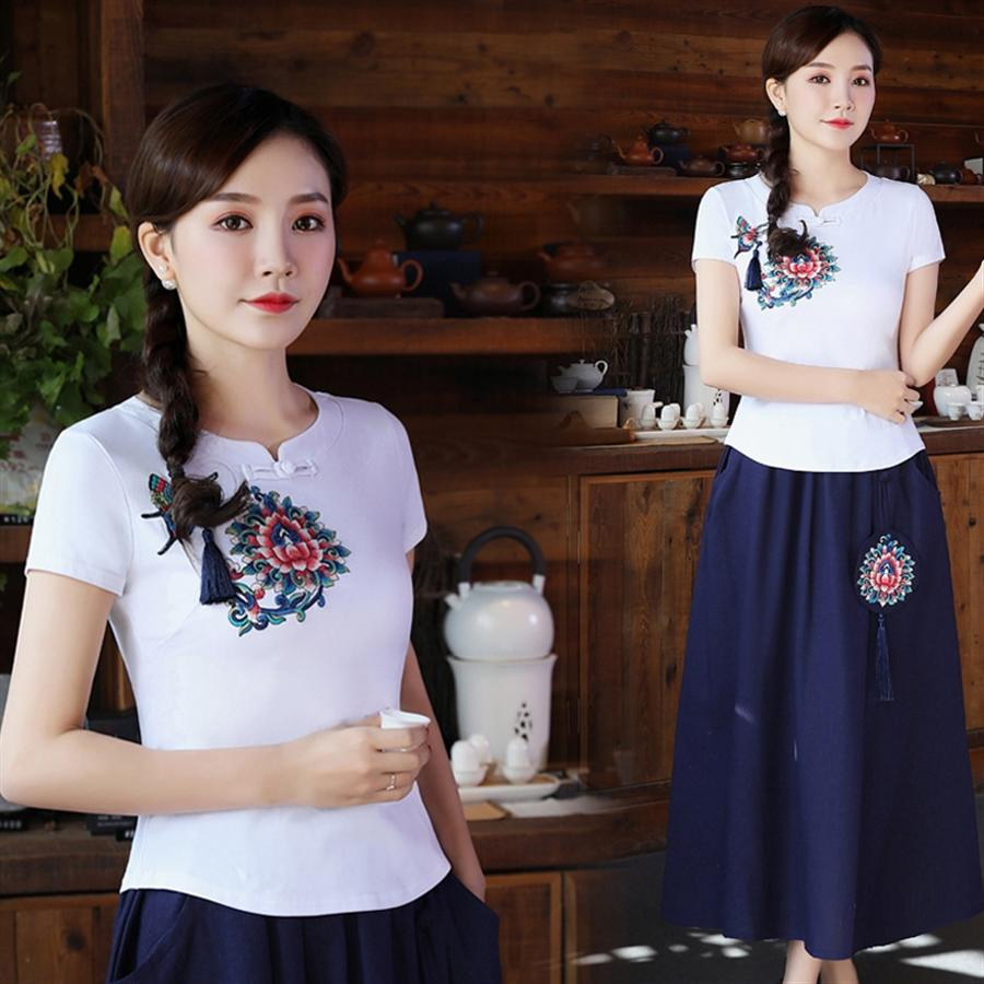L5493 Milli tarzı tişört milliyet Etnik Grup 2019 küçük standı yaka nakış pamuk dokuma tişört kadın kısa kollu ince