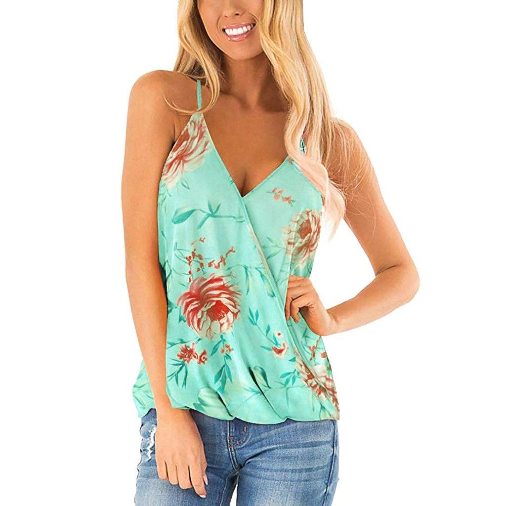 Sexy Womens Strap Tank Tops Floral Print Deep V Neck Sleeveless Cami Summer Beach Ladies Wrap Tank Vest Tops Blouses