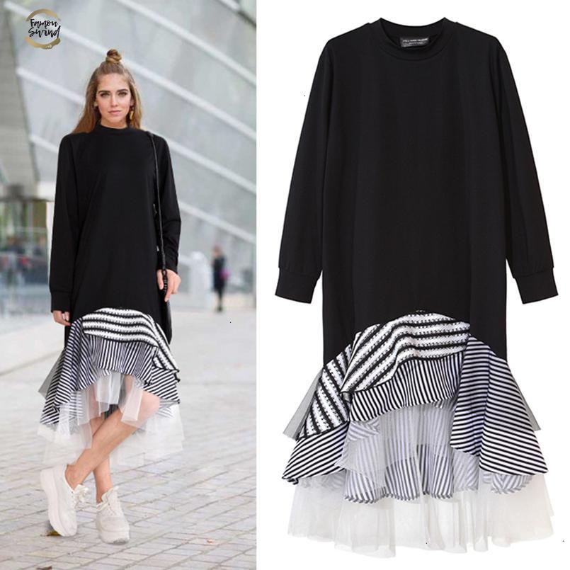 Mujer de manga larga camiseta de Midi vestido de la raya del remiendo del acoplamiento de la colmena de la llamarada asimétrica Hem suéter casual