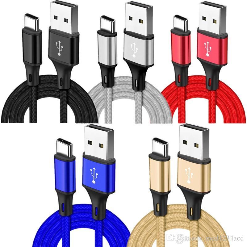 Metálica trenzada fuerte Tipo C cable USB 1m 2m 3m aleación de micro V8 rápida cables de carga para Samsung S6 S7 S8 S9 S10 nota 8 9 Sony HTC LG