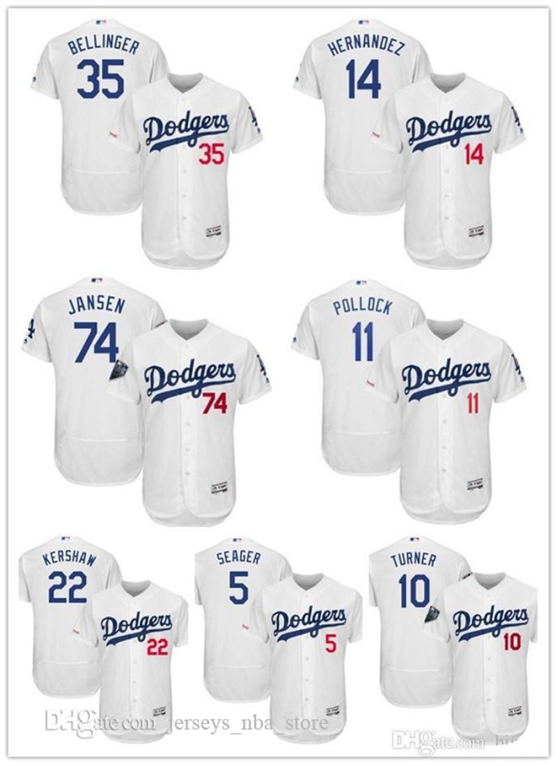 LosAngeles Dodgers 35 Cody Bellinger 5 Corey Seager Majestic Flexbase autêntica Colecção Jogador Jersey