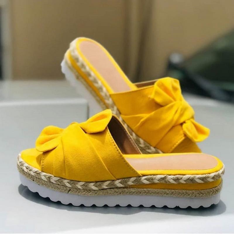 Gota de compras Mulheres Chinelo Verão Chinelos mulheres Straw Shoes Bow Sandálias Indoor sapatos de praia ao ar livre florais Feminino Plus Size