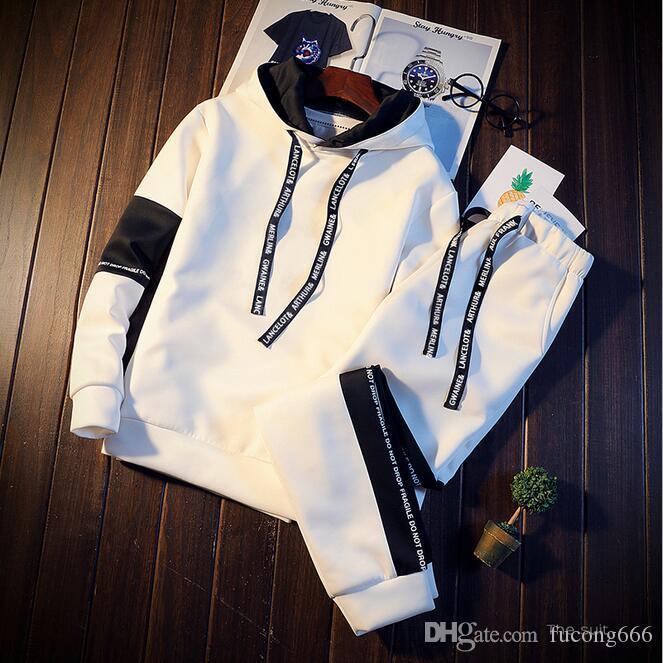 Frühling und Herbst neue 01 Männer Pullover Set Sport Student Trend Farbe passenden koreanischen Brief drucken mit Kapuze zweiteilige Set