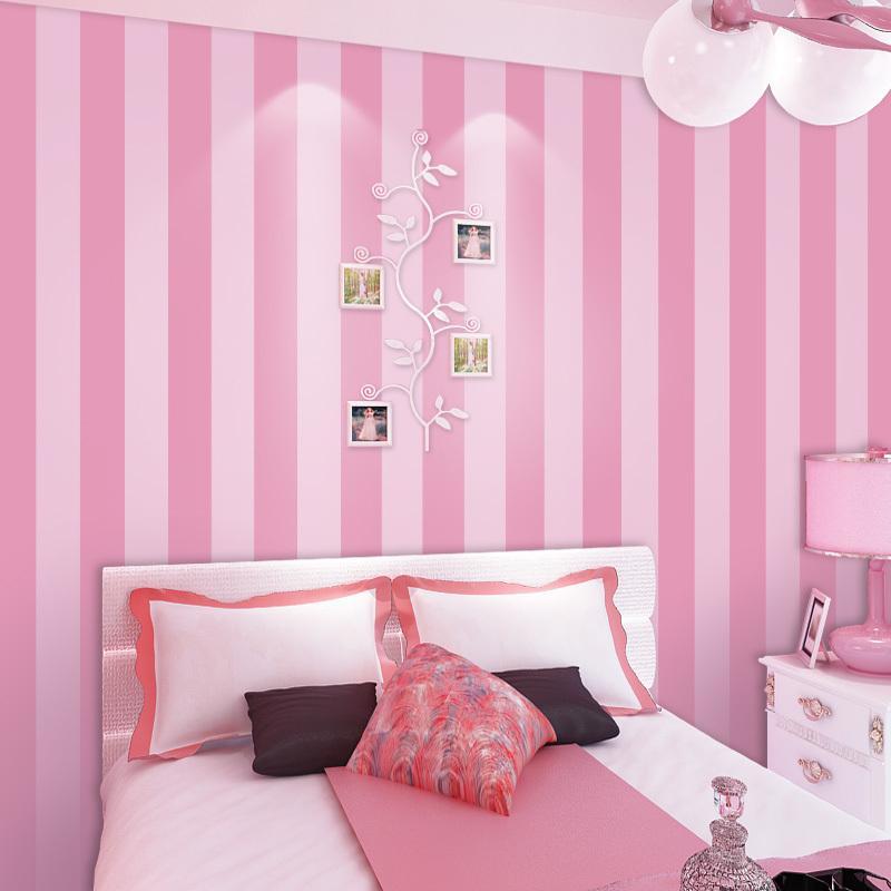 Para la habitación de los niños Papel tapiz del dormitorio Princesa Habitación de los niños Sala de estar Estilo moderno coreano Papeles de pared de rayas rosadas Decoración del hogar 10 m