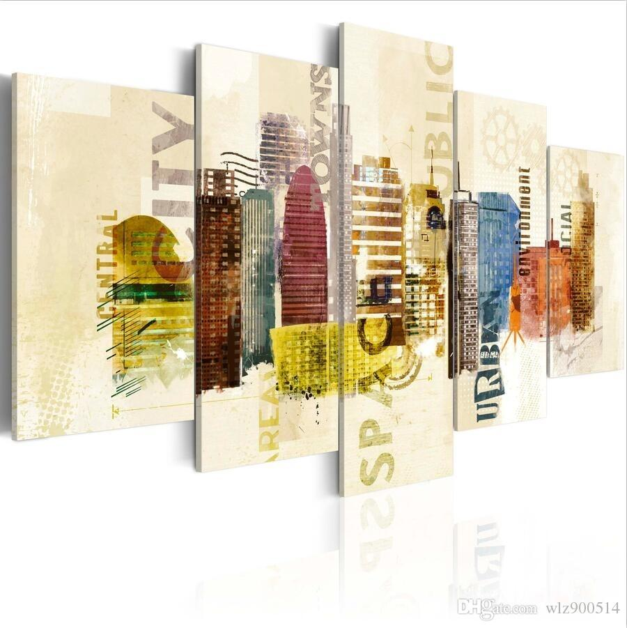 ( No Frame)5PCS/Set Modern Colorful Painted City Building Art Print Frameless Canvas Painting Wall Picture Home Decoration