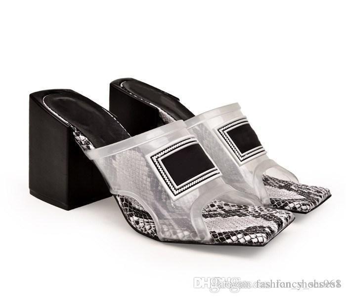 Sandalias de tacón medio transparentes para mujeres, diapositivas de tacón alto de mulas de tacón alto con suela de cuero Made in Italy 6cm / 9cm Tamaño 35-42