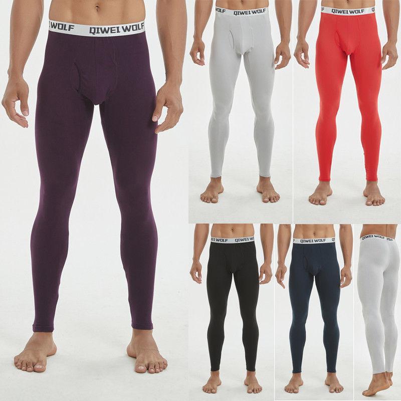 Biancheria intima termica inferiore uomini di inverno vestiti caldi di biancheria intima lunga elastiche pantaloni morbidi in cotone Slim Leggings termico