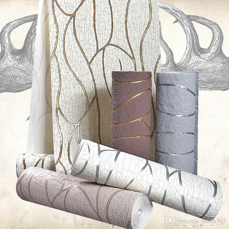 Suede de haute qualité moderne GraySilver Épaississement Papier peint à rayures pour les murs / Chambre fond Salon Salle TV Mode Wall Paper