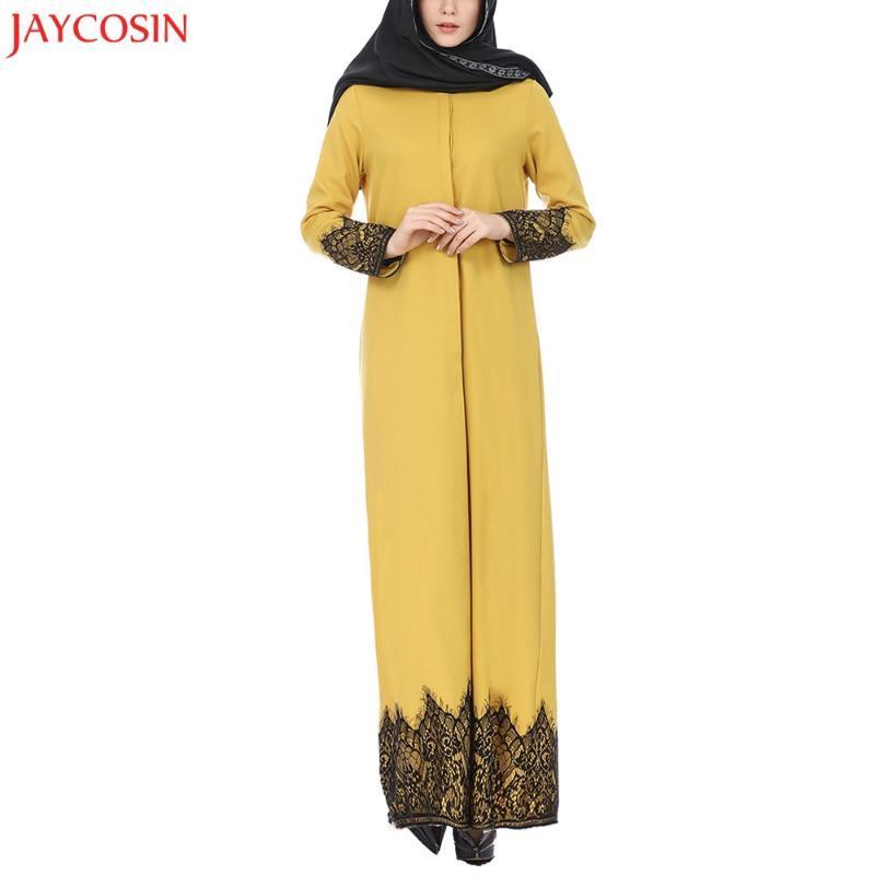 JAYCOSIN мусульманский желтый женщины кружева партия обрезается спереди Абая мусульманский Макси повседневный кафтан кимоно темно-синее платье горячая распродажа z0413