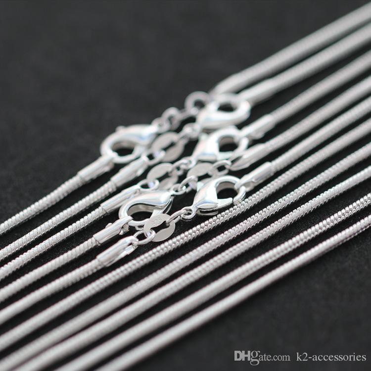بيع 100 قطع 925 الفضة السلس الأفعى سلسلة قلادة جراد البحر المشابك سلسلة مجوهرات حجم 1 ملليمتر 16 بوصة --- 22 بوصة