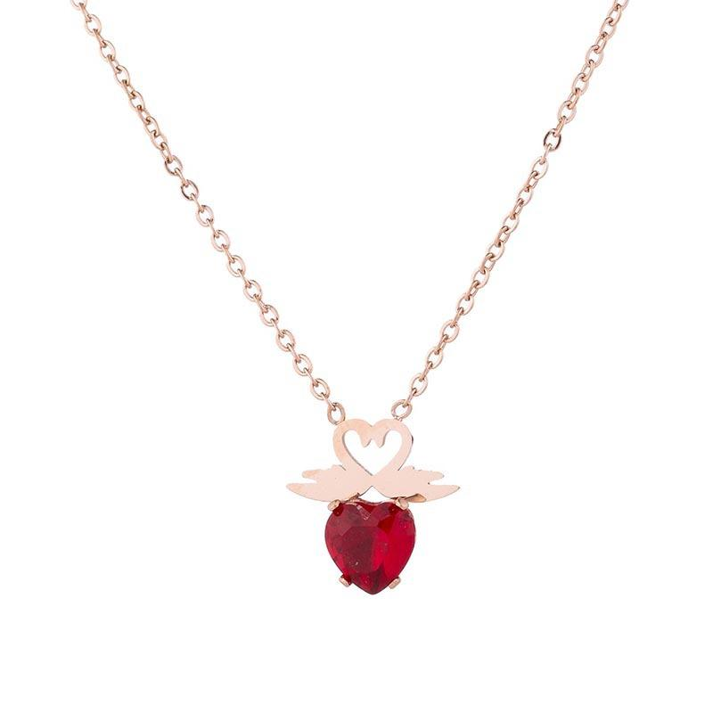 New Titanium Steel Rose Gold Trend with Red Love Necklace, Fashion Hundred-Band Clavicle Chain, Double Goose Pendant Necklace Wholesale