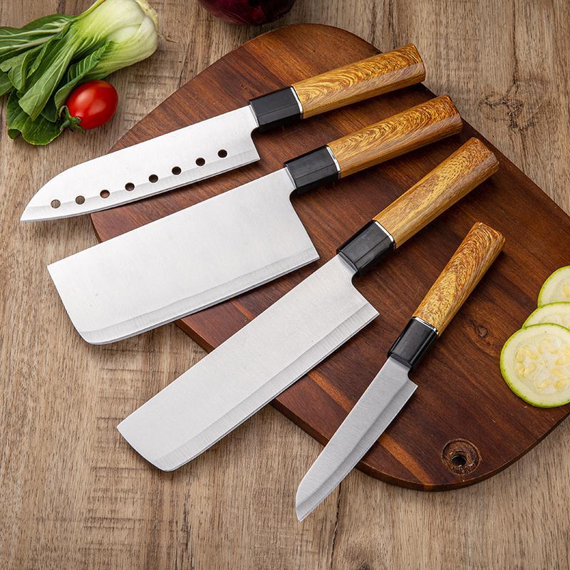 Großhandel 5 Anzüge gesetzt Japanische Küchenmesser Fleischspalter scharfe Gemüsemesser ABS-Kunststoff Griff Kochmesser Messer-Sets Kochen
