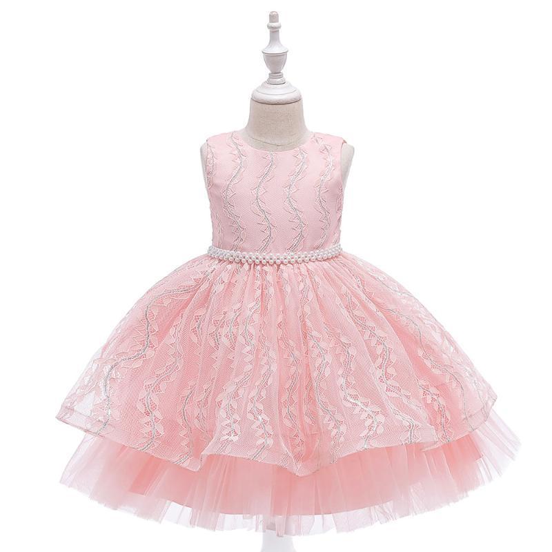 2020 vestido de fiesta de verano elegante Lush niñas princesa vestido de novia de encaje para los niños de cumpleaños vestido de traje de vestir de las muchachas