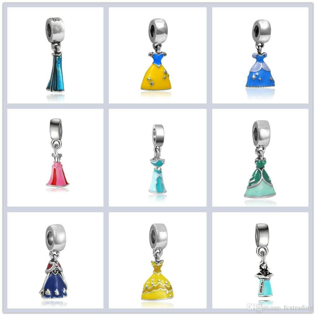 Prenses Emaye Elbise kolye Gümüş Kaplama Kız Etek Külkedisi Alaşım Charm Boncuk Dangle Avrupa DIY Takı Aksesuar