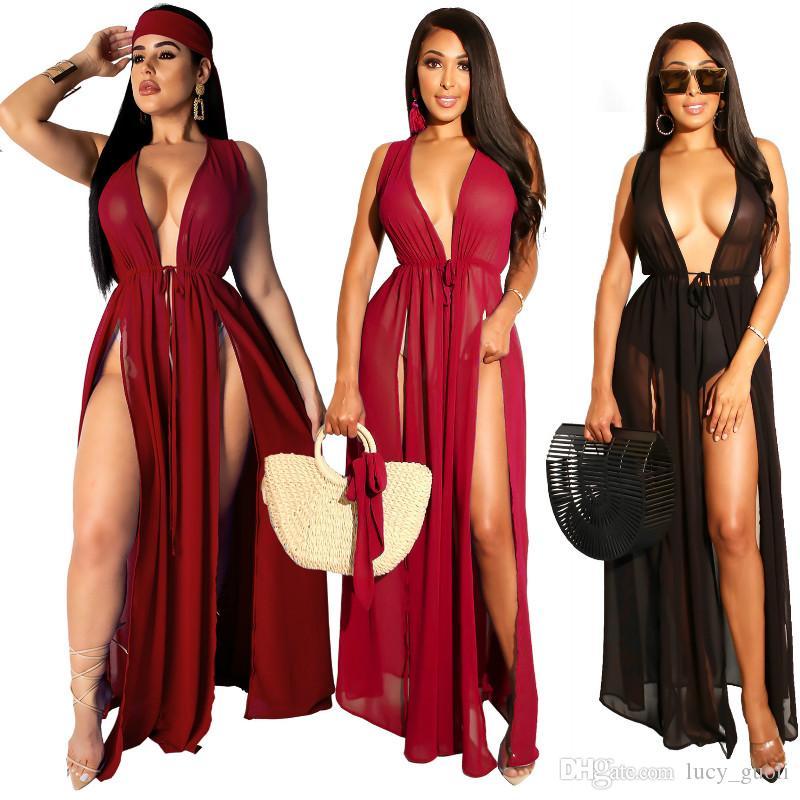 Été Boho Casual Longue Soirée Cocktail Beach Dress Beach Cardigan Maillot De Bain Cover Ups Sexy Femmes En Mousseline De Soie Robe Longue