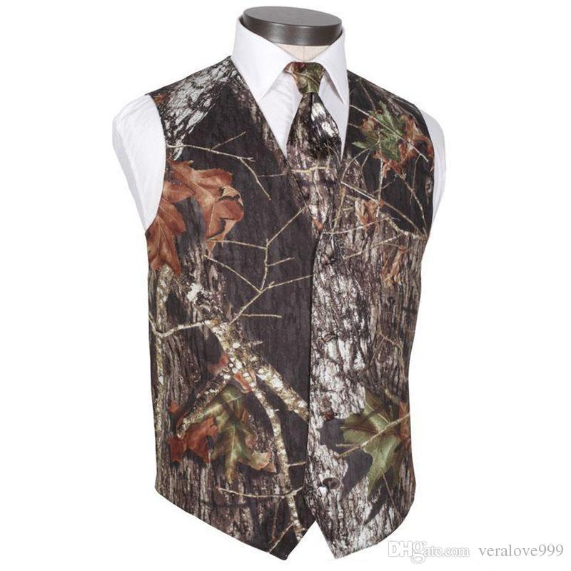 2019 новый V шеи камуфляж мужские свадебные жилеты верхняя одежда жених жилет Realtree весна камуфляж Slim Fit мужские жилеты