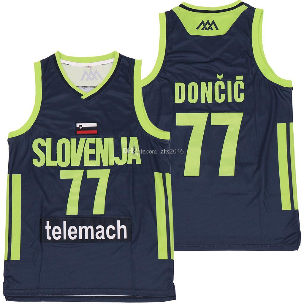 NCAA سلوفينيا 77 Doncic مخيط الفانيلة الرياضة جيرسي سيتي انضم اللاعب SHIRTS جديدة لوكا # 7 SLOVENIJA ريال مدريد الدوري الاوروبي لكرة السلة بطل
