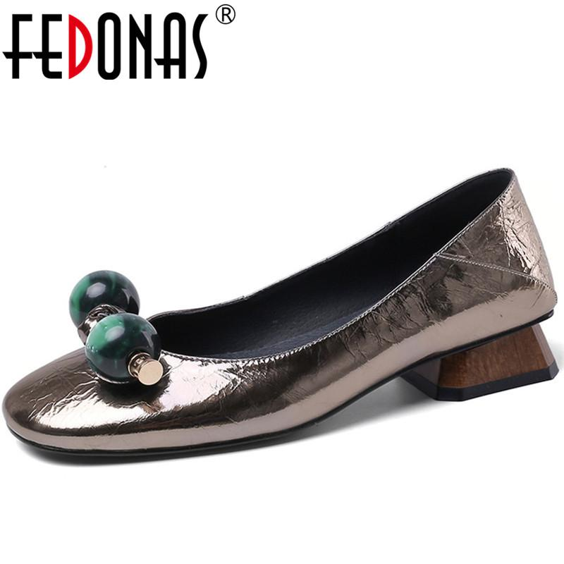 FEDONAS Women 2020 Round Toe Classic Design Genuine Leather Shoes Pearl Thick Heels Pumps Spring Summer Platforms Shoes Woman