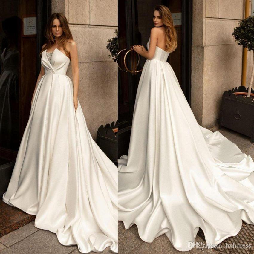 2020 Elegant Satin Wedding Dresses Strapless A Line Sweep Train Beaded Ruffles Berta Beach Wedding Dress Custom Made Boho Bridal Gowns 4533