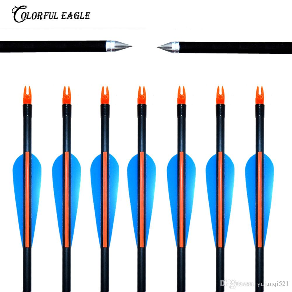 "12PCS/Lots 31.5"" 30"" 29"" 28""Spine 500 with blue Feather Fiberglass Arrow for Recurve Bow Arrow or compound Bow arrows target Practice"
