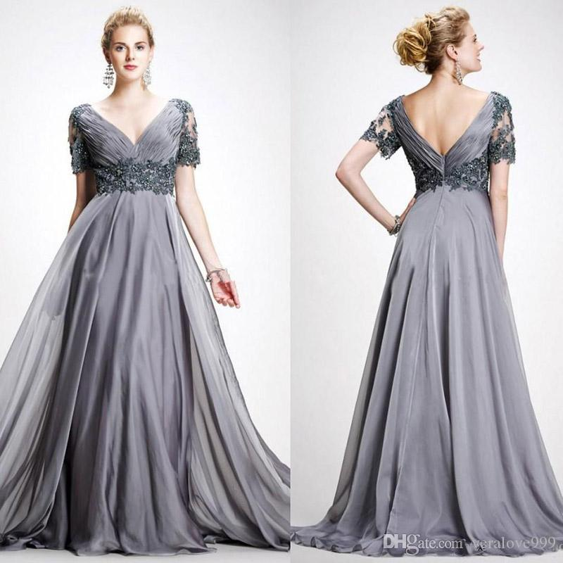 Gray Long Mother Of The Bride Dresses V Neck Short Sleeves Appliques Beaded Chiffon Plus Size Evening Gowns Prom Dresses