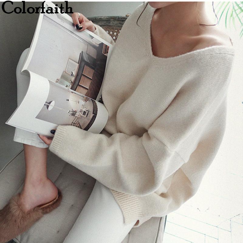 Colorfaith Yeni 2019 Sonbahar Kış Kadın Kazak V-Yaka Uzun Kollu Minimalist Kore Stil Örgü Casual Pembe SW8108 T200101 Tops
