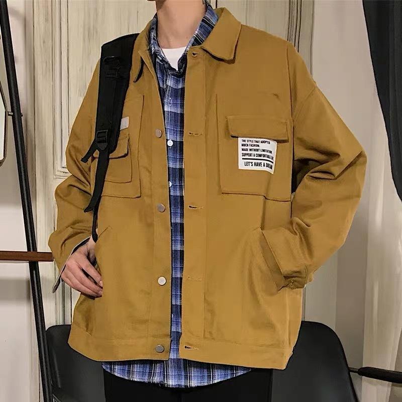 Erkekler Casual Katı Renk Gevşek İşleme Baskı Spor Jacket Streetwear Of The Best 2019 İlkbahar Ve Yaz Yeni Trend Kore Sürüm